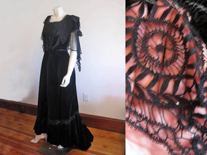 1900s Belle Epoque velvet gown, midnight blue silk velvet, silk chiffon, metal soutache