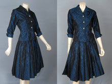 Load image into Gallery viewer, 1950s New Look Tailored Suit Blue Black Satin Brocade