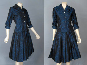 1950s New Look Tailored Suit Blue Black Satin Brocade