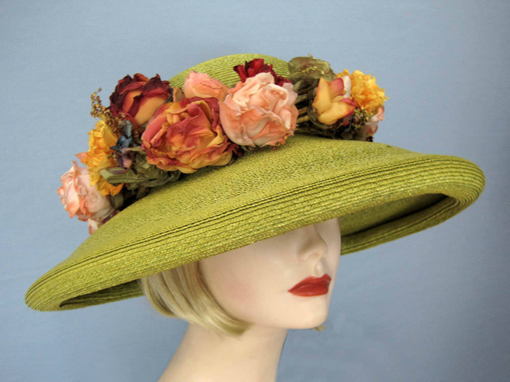 Kiwi Green Kokin Straw Hat Wide Brim Pink Yellow Roses Derby Tea Party 1980s