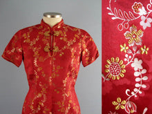 Load image into Gallery viewer, 1950s Chinese Red & Gold Silk Brocade Cheongsam Wiggle Dress