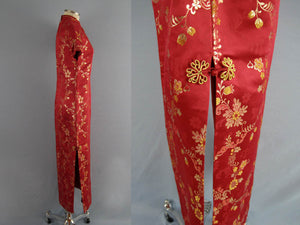 1950s Chinese Red & Gold Silk Brocade Cheongsam Wiggle Dress