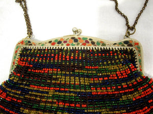 1920s Beaded Swag Handbag Enamel Frame Flapper Purse
