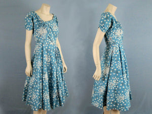 1950s Blue Floral Swing Dress Circle Skirt Jeanette Alexander