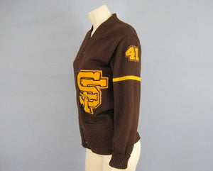 1940s Varsity Letterman Sweater Brown Wool Wil Wite Champion Award SF 41