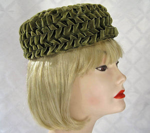 1950s Pillbox Hat Olive Green Braided Velvet Betmar 21""
