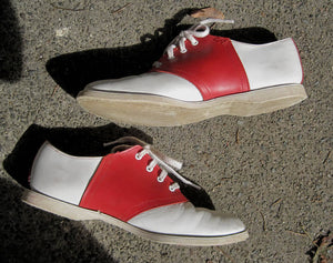 1950s Red & White Leather Saddle Shoes Hipster Rockabilly Goodyear Soles
