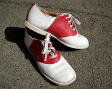 Load image into Gallery viewer, 1950s Red & White Leather Saddle Shoes Hipster Rockabilly Goodyear Welting