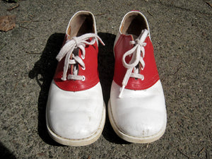 1950s Leather Saddle Shoes Red White Goodyear Welting