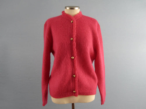1950s Hot Pink Wool Cardigan Sweater Lofties by Lawrence