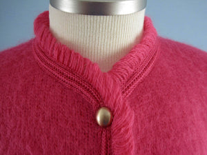 1950s Cardigan Sweater Hot Pink Wool Lofties by Lawrence