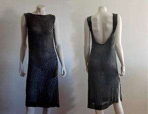 1930s Beaded Black Silk and Rhinestone Dress Low Scoop Back