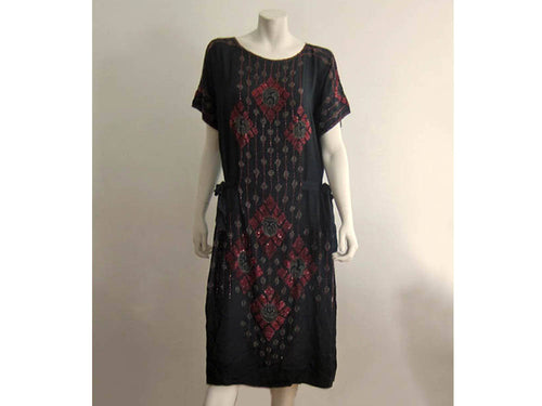 1920s Beaded Silk Flapper Dress Red Glass Beads Black Silk