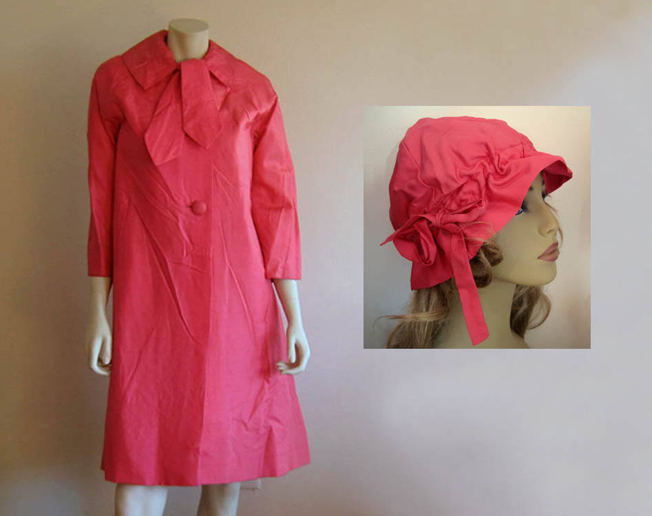 1950s Swing Coat Cloche Hat Hot Pink Silk Lawrence of London