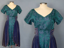 Load image into Gallery viewer, 1950s Purple Velvet Teal Brocade Party Swing Dress Vogue Couturier Design