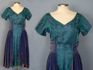 1950s Purple Velvet Teal Brocade Party Swing Dress Vogue Couturier Design