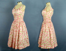 Load image into Gallery viewer, 1950s Jerry Gilden Pink Roses Bombshell Swing Dress