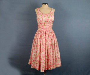 1950s Jerry Gilden Pink Roses Bombshell Swing Dress