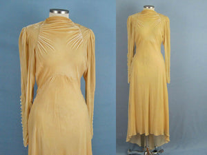 1930s Golden Ivory Liquid Silk Velvet Wedding Gown