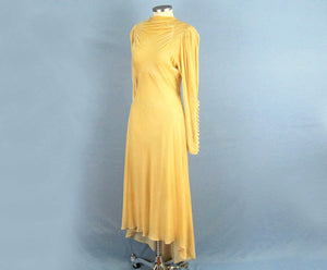 1930s Wedding Dress Golden Ivory Silk Velvet Trained Wedding Gown