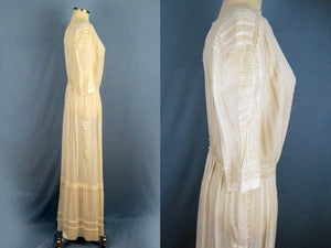 1900s Edwardian Tea Dress Embroidered Gauze with Openwork