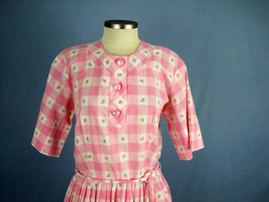 1950s Day Dress Pink & White Buffalo Plaid Clip Dot Cotton