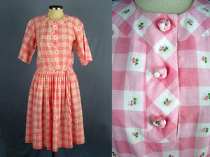 1950s Pink White Buffalo Plaid Swing Day Dress Full Skirt