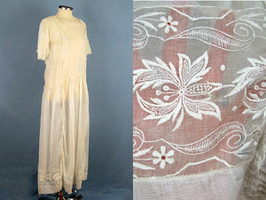 1920s Flapper Wedding Dress Creamy White Embroidered Cotton Organdy Gown