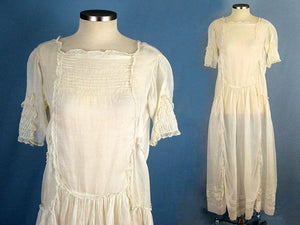 1920s Drop Waist Embroidered Cotton Organdy Flapper Wedding Dress
