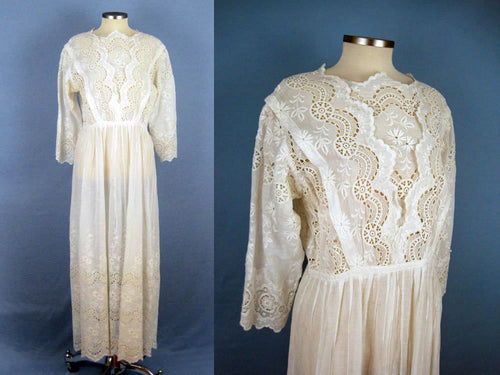 1910s Edwardian Tea Dress White Broderie Anglais Gown SMALL