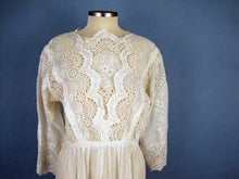 Load image into Gallery viewer, White Edwardian Tea Dress Broderie Anglais Gown SMALL 1910s
