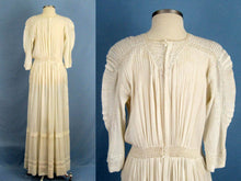 Load image into Gallery viewer, 1900s Edwardian Tea Dress Embroidered Gauze with Openwork