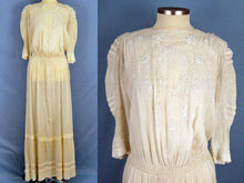 Load image into Gallery viewer, 1910s Edwardian Tea Dress Embroidered Gauze with Openwork