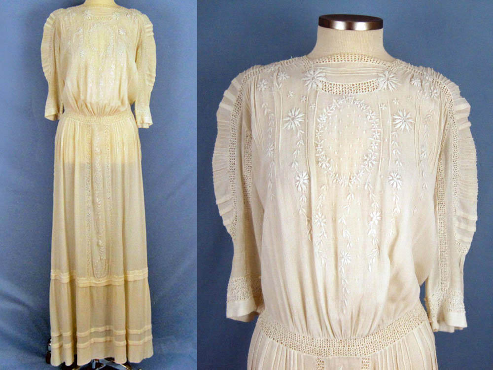 1910s Edwardian Tea Dress Embroidered Gauze with Openwork