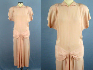 1940s Light Pink Crepe Dress WWII Era Dance Dress