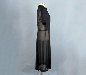 1940s Navy Blue Sheer Chiffon Dress Satin Trim
