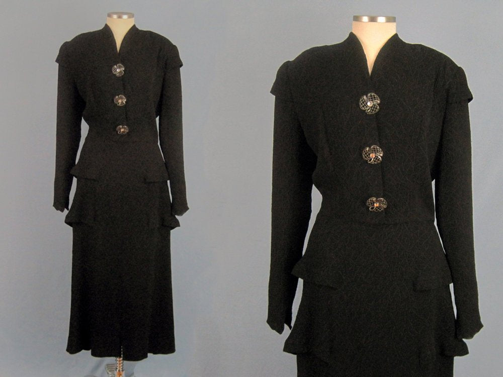 1940s Black Cocktail Dress Peplum Waist Textured Rayon Fanya