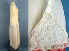 Load image into Gallery viewer, 1920s Flapper Wedding Dress Creamy White Embroidered Cotton Organdy Gown