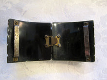 Load image into Gallery viewer, 1930s Art Deco Belt Buckle Cape Clasp Dark Green Marbled Bakelite