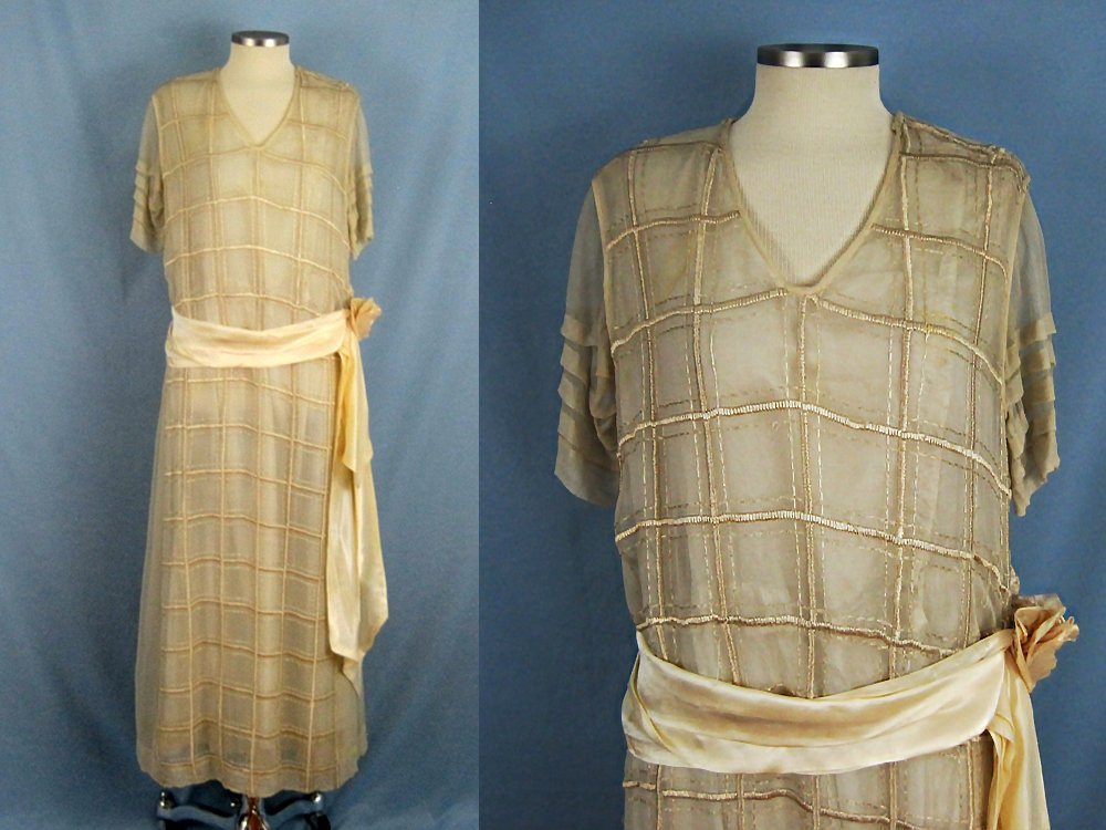 1920s Cream Silk Tabard Dress Embroidered Window Pane Pattern Silk Rolled Roses