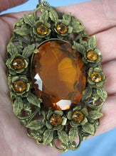 Load image into Gallery viewer, 1930s necklace large faceted amber glass pendant filigree brass