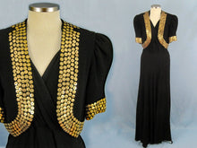 Load image into Gallery viewer, 1930s Studded Black Rayon Crepe Gown Bolero Old Hollywood