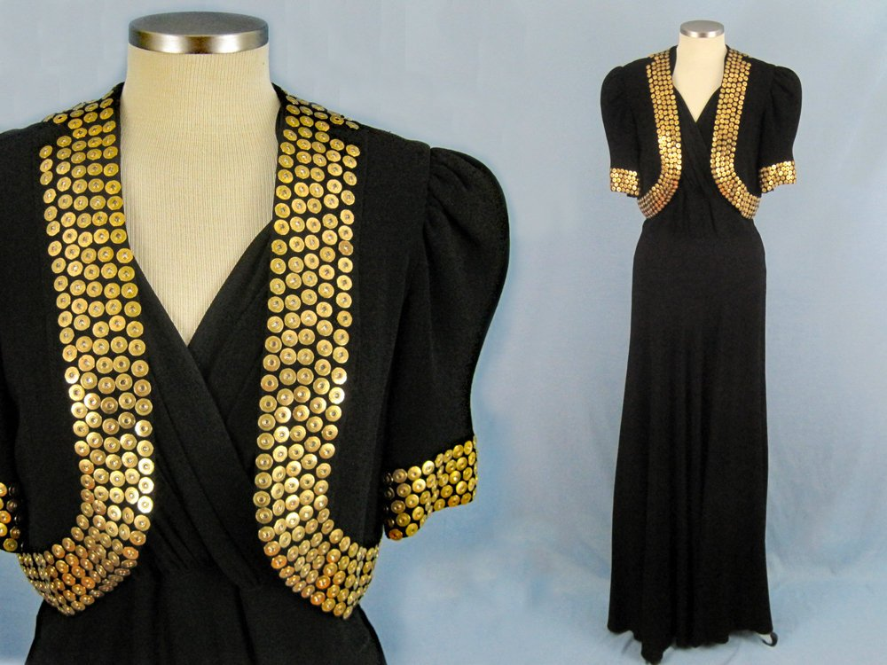1930s Studded Black Rayon Crepe Gown Bolero Old Hollywood