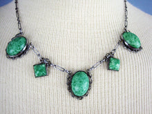 Load image into Gallery viewer, 1920s Art Deco Peking Glass Necklace Filigree Silver Tone Metal