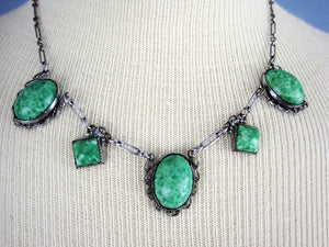 1920s Art Deco Peking Glass Necklace Filigree Silver Tone Metal