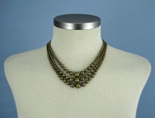 1940s Brass Ball Bead Necklace Multi Strand