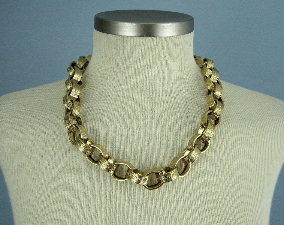 1980s Givenchy Chunky Necklace Victorian Revival Gold-tone