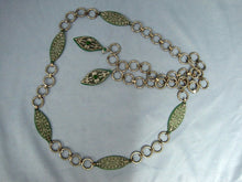 Load image into Gallery viewer, 1920s Flapper Belt Green Celluloid Filigree Metal Chain Link Belt