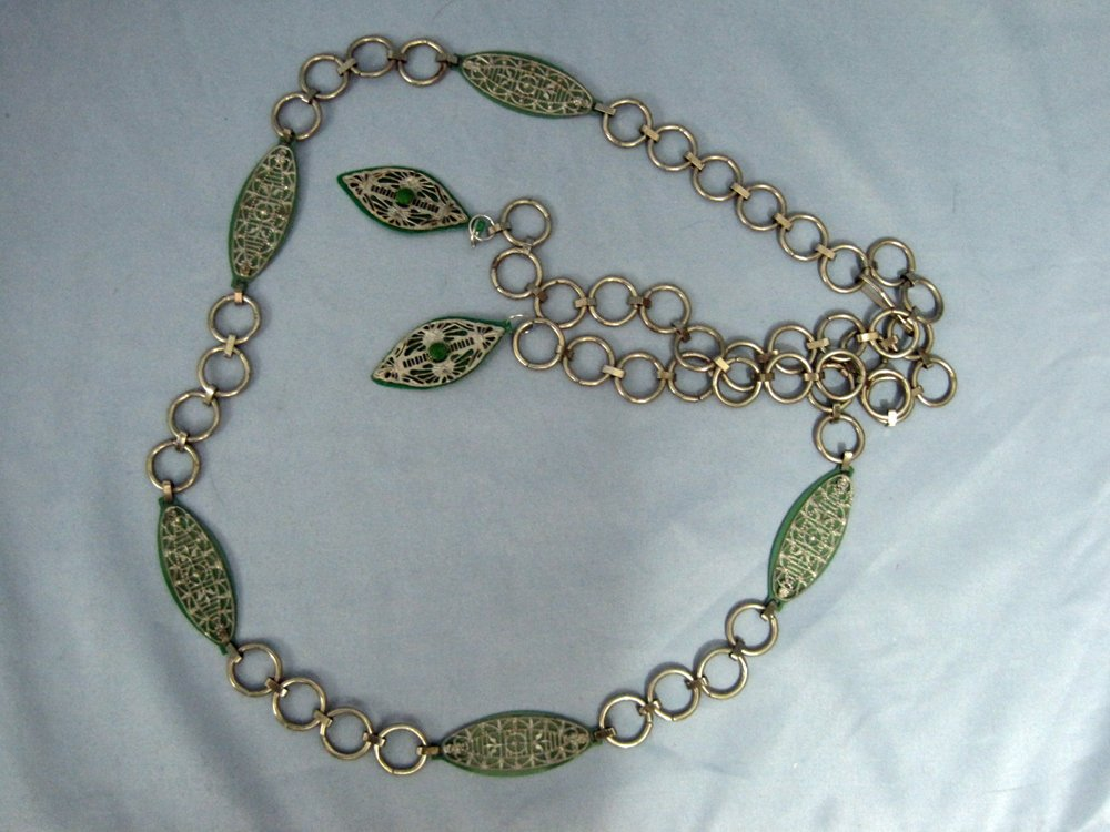 1920s Flapper Belt Green Celluloid Filigree Metal Chain Link Belt