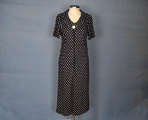1960s Shift Dress Navy Blue White Polka Dot